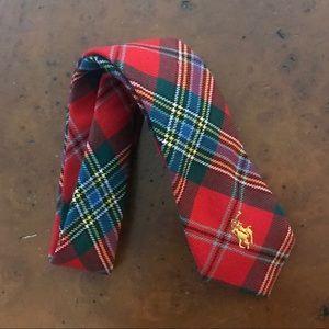 Boys Tartan Scottish plaid red wool tie polo man